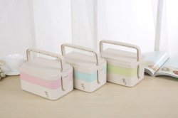 Nahrung-Sicherer Weizen-Faser Nahrungsmittelbehälter PlastikBento Mittagessen-Kasten mit Griffen für Schule-Picknick-Büro
