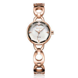 Chapado en oro rosa analógico Megir Dama reloj de pulsera de cuarzo