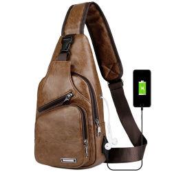 Cuir synthétique Mens élingue Sacs épaule à la poitrine avec la charge USB