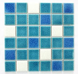Double-Deck氷のひびの青緑色のすべり止めのモザイク居間の台所浴室の壁のタイルの背景の壁のタイルのモザイク