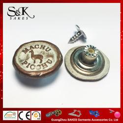 Logo personnalisé Anti-Copper avec Tin tige en alliage de zinc métallique couleur Bouton avec insert en nylon