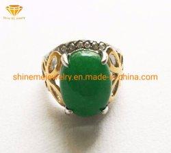Acero inoxidable Bisutería verde jade anillo de acero inoxidable de Piedras Preciosas Joyas SCR2888
