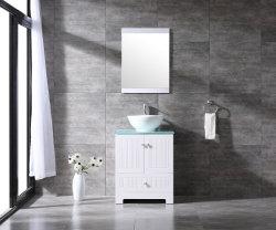 """24의 """" 목욕탕 내각 PVC 허영 세라믹 배 수채 유리제 상단 W/Mirror는 백색 목욕탕 가구를 놓았다"""