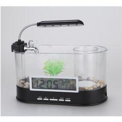 Mini-Fish Tank Aquarium avec lumière LED de la fonction horloge