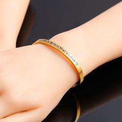 Bijoux de mode d'inspiration personnalisé en acier inoxydable bracelet cuff bangle