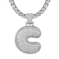 2020 populäre kundenspezifische Tennis-Halsketten-Schmucksachen des Schmucksache-Alphabet-Zeichen-Namen-925 silberne hängende mit Initiale