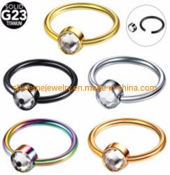 Grade23 het Doordringen van het Lichaam van het Titanium van de Ring van CZ van de Halfedelsteen van het Titanium Gevangen Juwelen Tp1961