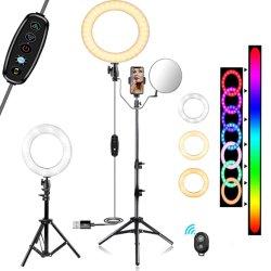 """10"""" Selfie Anel de Luz, RGB a intensidade de luz circular LED com tripé para Vídeo Youtube/Viver a vaporização, com suporte para o telemóvel e Bluetooth"""