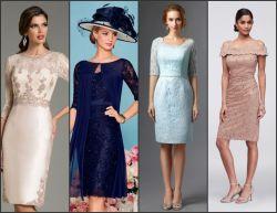 Plusgrößen-Spitze-Mutter der Braut bekleidet kurze Bridemaid Abend-Kleider Z7033