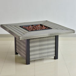 Hot Sale moderne carré de plein air barbecue jardin en osier Fire Pit Table en aluminium