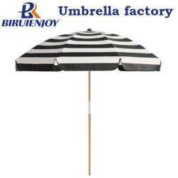 陰2メートルの黒の木のポーランド人が付いている白い縞浜の日傘