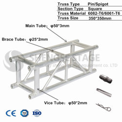 350mm*350mm Aluminum Exhibition Lighting Performance Stage Display Truss Factory