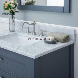 Governo dello specchio della stanza da bagno di legno solido della betulla di Morden nel Gray con la parte superiore di vanità della porcellana