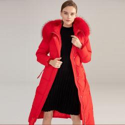 Fashion longo inverno quente Jacketr para baixo com peles com pêlo