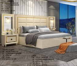 Acero inoxidable de MDF de cama de matrimonio tamaño King Size camas de madera juego de dormitorio muebles de casa moderna cabecera alta
