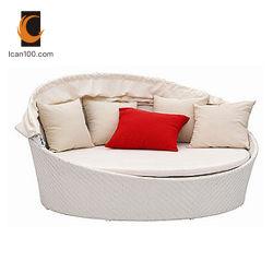 Prueba de agua al aire libre jardín blanco de mimbre muebles de ratán Playa sofá para 4 persona (SL-07012)