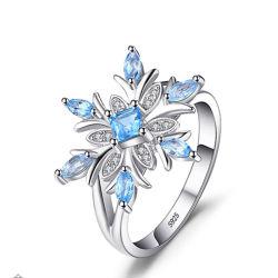925 de echte Zilveren Ring van de Sneeuwvlok voor de Fijne Juwelen van de Vrouwen van de Manier met Zirkoon