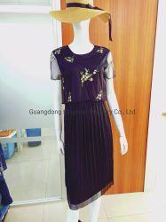 Neues Design Mode Lady Blumendruck Abend Runde Kragen Sexy Grenadine Sticken Damen/ Damenbekleidung