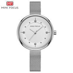 Armbanduhr der Minifokus-dünne Steindame-Quartz