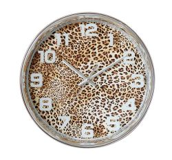 """10"""" Leopard taches rondes en plastique européenne 3 Horloge murale à quartz à main"""