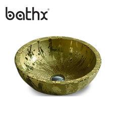 Piedra artificial lavabo moderno cuarto de baño en el barco de la encimera de la cuenca del borde delgado