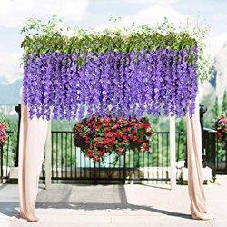 """Большие лампа фиолетового цвета искусственного Фальшивый """"Вистерия виноградной Ratta висящих Гарланд шелковые цветы String Домашняя группа свадебный декор"""