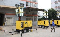 Générateur de la tour d'éclairage mobile mobile portable de la tour lumineuse extensible mât manuel ou hydraulique escamotable Cummins Moteur diesel Kubota Isuzu Perkins