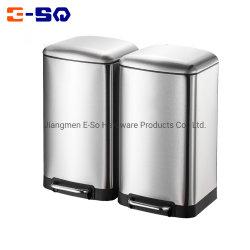 2 em 1 Cozinha 60L do compartimento de aço inoxidável a reciclagem dos resíduos de lixo do compartimento do pedal