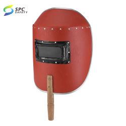 빨간 내화성이 있는 섬유 종이 손잡을 곳 굵은 활자 주문 용접 헬멧 용접공 얼굴 방패