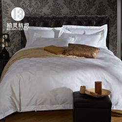 Hotel de cinco estrellas de Jacquard Blanco Chequer conjunto de ropa de cama de algodón 100% Algodón Egipcio Set Edredón Fabricante de ropa de cama