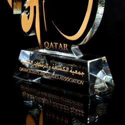 Vidro Polyresin Soccer Football Prêmio Cup Troféu de cristal para Evento como Loja Dom 015)