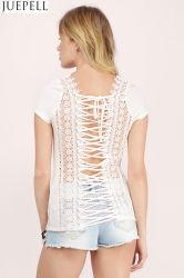 Retour de la Dentelle coutures ronde creuse le cou à manches courtes Tee-shirt T-shirt de sangle de la femme