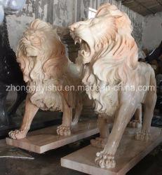 Tierskulptur, ein Paar Löwe Marmorskulptur
