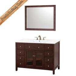 Alimentados-1007 Lavatório Cerâmica integrado sem mancha permanente armário de casa de banho de porta de vidro de acabamento