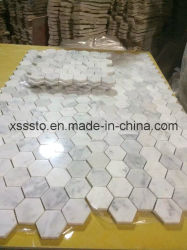 Hexagon Bianco Carrara Marmormosaik-Fliesen poliert u. für Badezimmer abgezogen