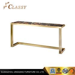 Qualidade superior de luxo em mármore mesa console com estrutura em aço inoxidável de Ouro