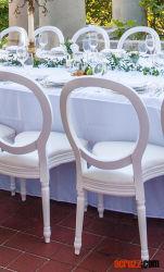 Médaillon en plastique Meubles de salle de banquet Tiffany Chiavari Louis Victoria Ghost chaise de salle à manger