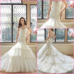 Mermaid Suite Ball Robes Tulle Organza Lace vestidos de casamento Y16481