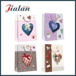 ورق فني شكل قلب مطبوع تخصيص ورقة حقيبة تسوق الهدايا