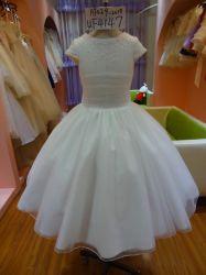 ثوب flowergirl الأبيض نمط بريديميد فتاة اللباس UF4147