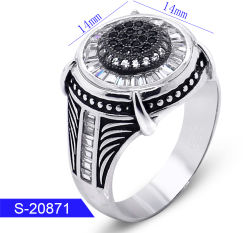Commercio All'Ingrosso Ultime Design Fashion Silver Jewellery Cubic Zirconia Stone Ring For Man