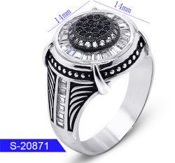 Groothandel Recentste Design Fashion Silver Jewelry Kubieke Zirconia Stone Ring For Man