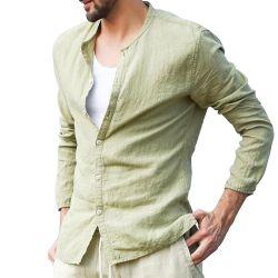 مصنع بالجملة عامة رجال صانية [لينن] عرضيّ طويل كم قميص