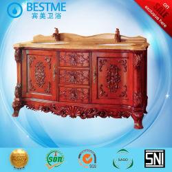 Double lavabo en marbre avec armoire en bois massif en Chine par-F 8031