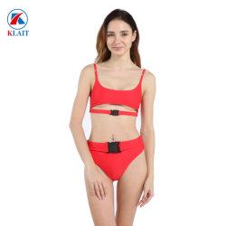 Commerce de gros en deux pièces de couleur unie femmes Sexy Bikini rouge de boucle de jeu rétro