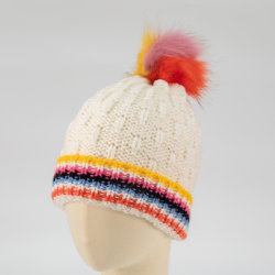 여자의 다채로운 형식 줄무늬 공상에 의하여 뜨개질을 하는 모자