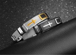 La courroie en acier inoxydable bracelet Bracelet croix en or la personnalité de l'acier Titane Bracelet réglable Hommes