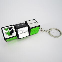 Logotipo personalizado plástico promocional luz LED Magic Mini-Cube chaveiro