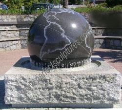 Jardim pedra granito mármore esfera rolante Chafariz de bola com o Mapa Mundo (SF-B104)