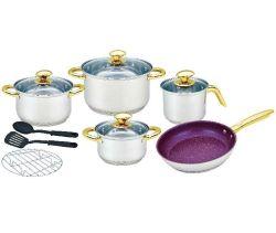 12 Conjunto de talheres de aço inoxidável com ferramentas de cozimento e Nonstick Fry Pan Pan Leite